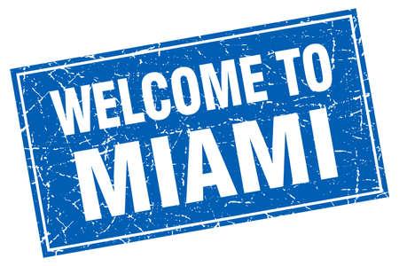miami: Miami blue square grunge welcome to stamp