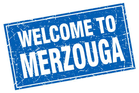 merzouga: Merzouga blue square grunge welcome to stamp Illustration