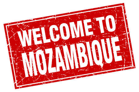 mozambique: Mozambique red square grunge welcome to stamp Illustration