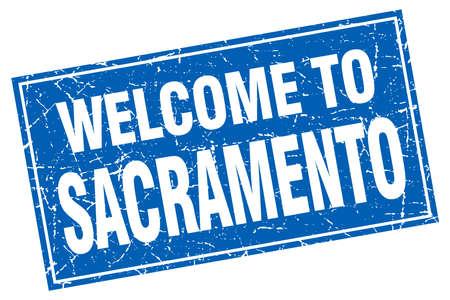 sacramento: Sacramento blue square grunge welcome to stamp Illustration
