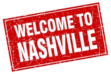nashville: Nashville red square grunge welcome to stamp