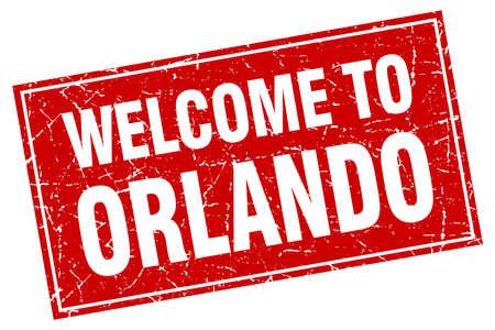 orlando: Orlando red square grunge welcome to stamp