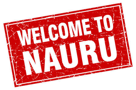 nauru: Nauru red square grunge welcome to stamp