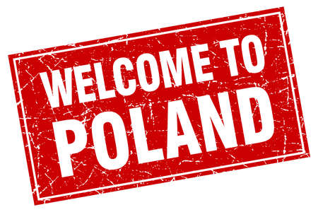 poland: Poland red square grunge welcome to stamp