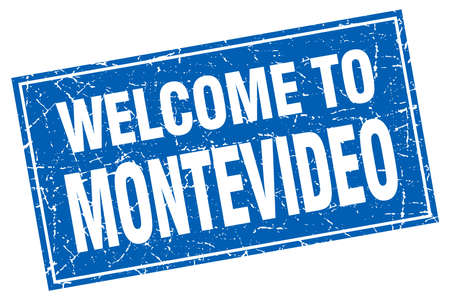 montevideo: Montevideo blue square grunge welcome to stamp