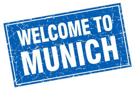 munich: Munich blue square grunge welcome to stamp Illustration