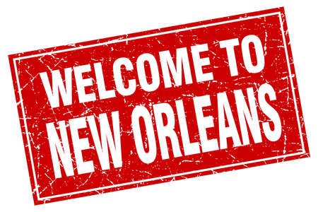 new orleans: New Orleans red square grunge welcome to stamp