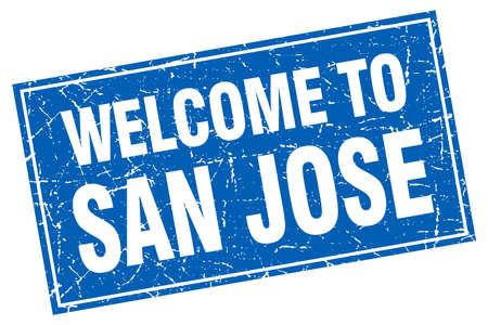 san jose: San Jose blue square grunge welcome to stamp