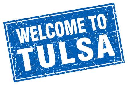 Tulsa blue square grunge welcome to stamp Illustration