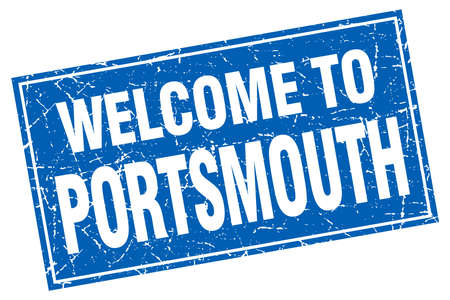 portsmouth: Portsmouth blue square grunge welcome to stamp