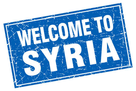 syria: Syria blue square grunge welcome to stamp
