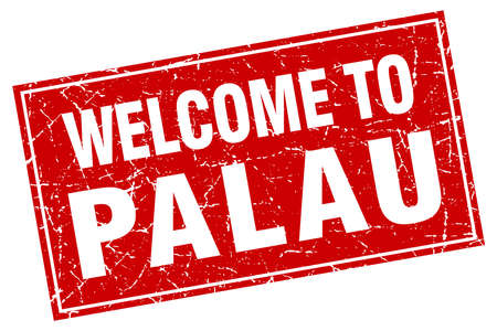 palau: Palau red square grunge welcome to stamp