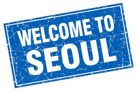 seoul: Seoul blue square grunge welcome to stamp
