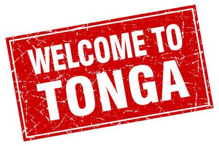 tonga: Tonga red square grunge welcome to stamp Illustration