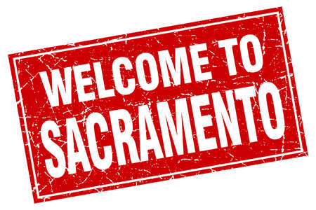 sacramento: Sacramento red square grunge welcome to stamp