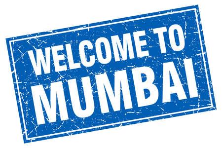 mumbai: Mumbai blue square grunge welcome to stamp