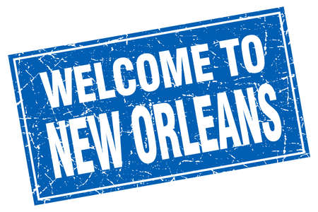 new orleans: New Orleans blue square grunge welcome to stamp