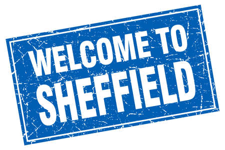 sheffield: Sheffield blue square grunge welcome to stamp