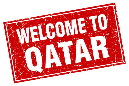 qatar: Qatar red square grunge welcome to stamp