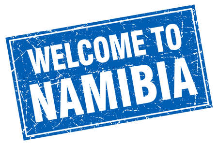 namibia: Namibia blue square grunge welcome to stamp
