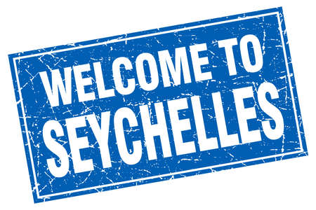 seychelles: Seychelles blue square grunge welcome to stamp Illustration