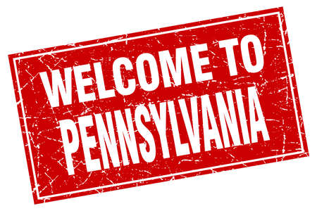 pennsylvania: Pennsylvania red square grunge welcome to stamp