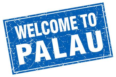 palau: Palau blue square grunge welcome to stamp Illustration