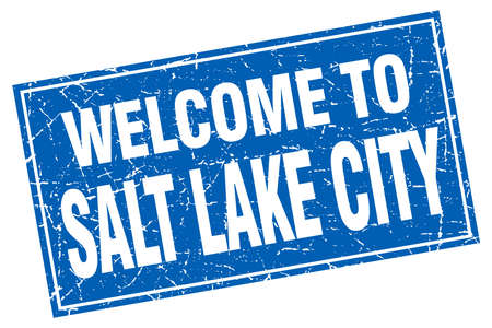 salt lake city: Salt Lake City blue square grunge welcome to stamp