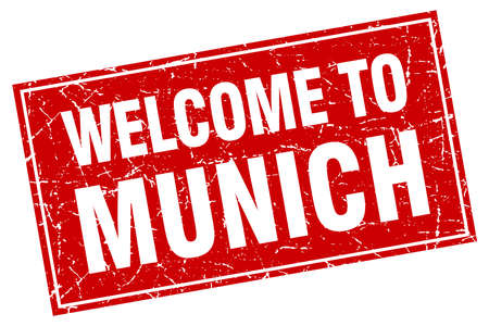 munich: Munich red square grunge welcome to stamp