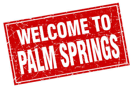 palm springs: Palm Springs red square grunge welcome to stamp