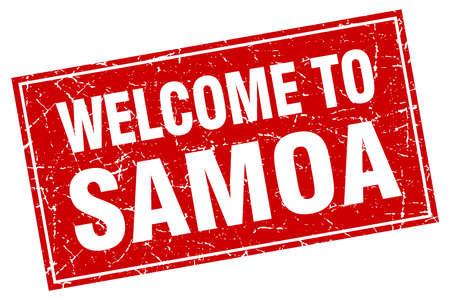 samoa: Samoa red square grunge welcome to stamp