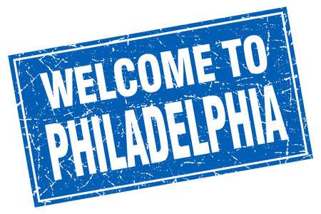 philadelphia: Philadelphia blue square grunge welcome to stamp