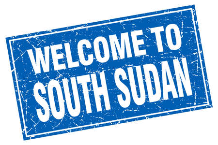 lucia: South Sudan blue square grunge welcome to stamp Illustration