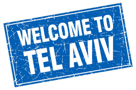 aviv: Tel Aviv blue square grunge welcome to stamp