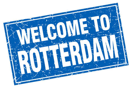 rotterdam: Rotterdam blue square grunge welcome to stamp