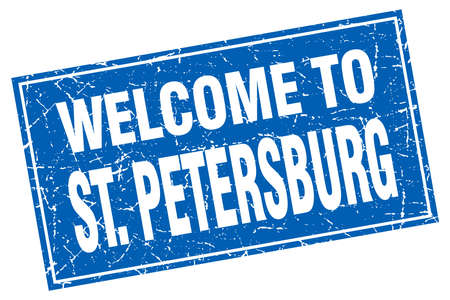 st petersburg: St. Petersburg blue square grunge welcome to stamp