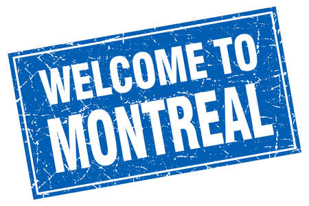 montreal: Montreal blue square grunge welcome to stamp Illustration