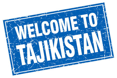tajikistan: Tajikistan blue square grunge welcome to stamp