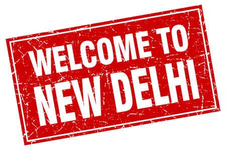 new delhi: New Delhi red square grunge welcome to stamp Illustration