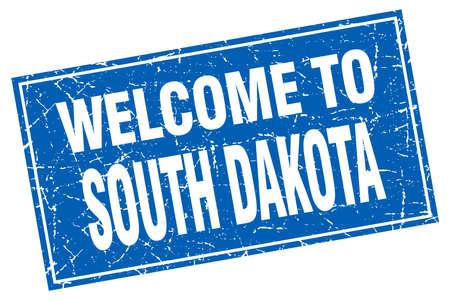 south dakota: South Dakota blue square grunge welcome to stamp
