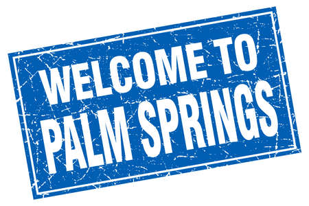palm springs: Palm Springs blue square grunge welcome to stamp