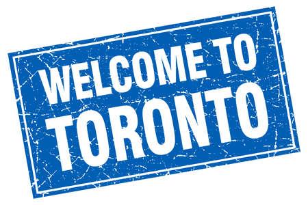 toronto: Toronto blue square grunge welcome to stamp