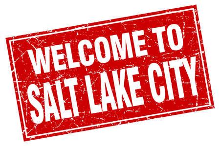 salt lake city: Salt Lake City red square grunge welcome to stamp