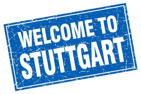 stuttgart: Stuttgart blue square grunge welcome to stamp