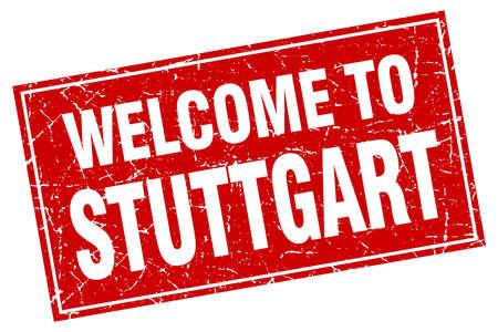 stuttgart: Stuttgart red square grunge welcome to stamp