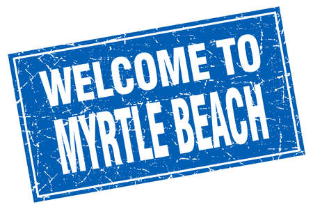 myrtle: Myrtle Beach blue square grunge welcome to stamp