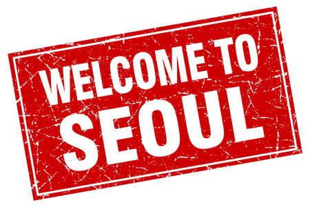 seoul: Seoul red square grunge welcome to stamp Illustration