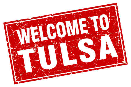 tulsa: Tulsa red square grunge welcome to stamp