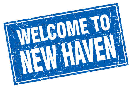 haven: New Haven blue square grunge welcome to stamp Illustration