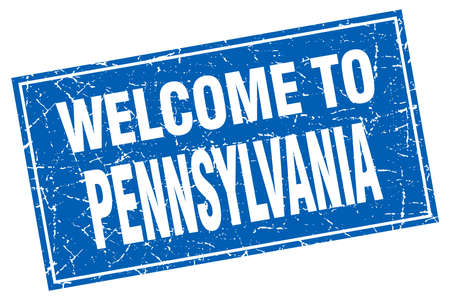 pennsylvania: Pennsylvania blue square grunge welcome to stamp